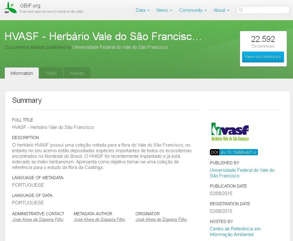 Herbário Vale do São Francisco é indexado aos dados do Global Biodiversity  Information Facility b6e5786bda7bf